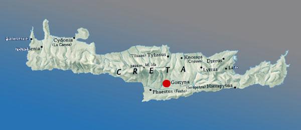 Cartina Geografica Isola Di Creta.Il Sito Gortina Bizantina
